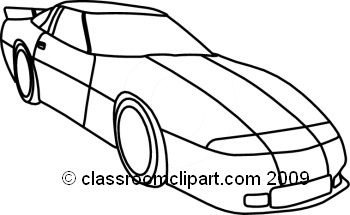 Cars : corevette-bw-outline : Classroom Clipart
