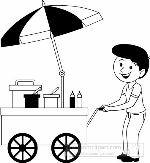 Food Clipart- black-white-street-vendors-black-white