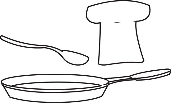 Food : outline-chef-hat-frying-pan : Classroom Clipart