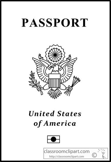 General : US_Passport_outline_213 : Classroom Clipart