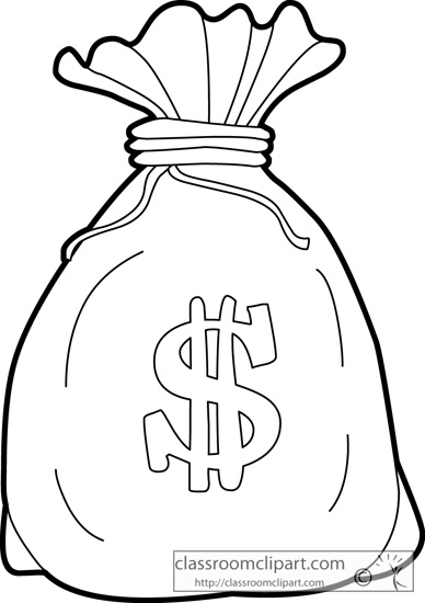 General : bag_of_money_outline_213 : Classroom Clipart