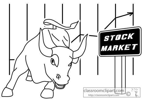 General : stock_market_bull_outline_02 : Classroom Clipart