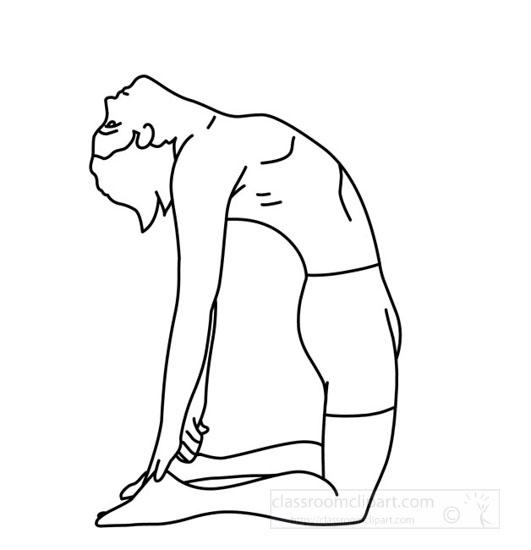 Health : yoga_backbend_pose_outline : Classroom Clipart