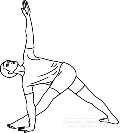 Health : yoga_trikonasana_pose_07_219_outline : Classroom