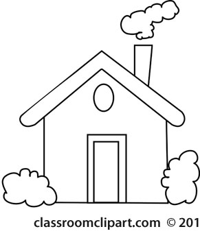 Home : house-with-chimney-smoke-outline : Classroom Clipart