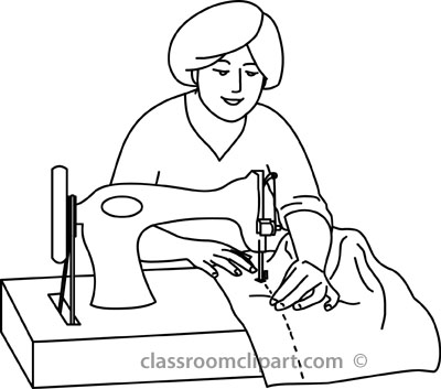 Home : woman_sewing_on_machine_outline : Classroom Clipart