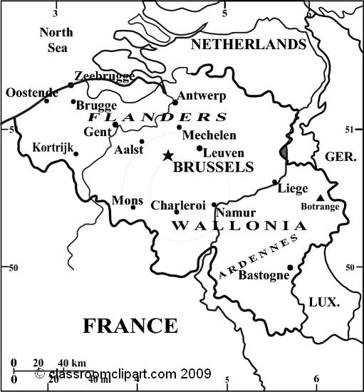 Maps : Belgium_map_9Rbw : Classroom Clipart
