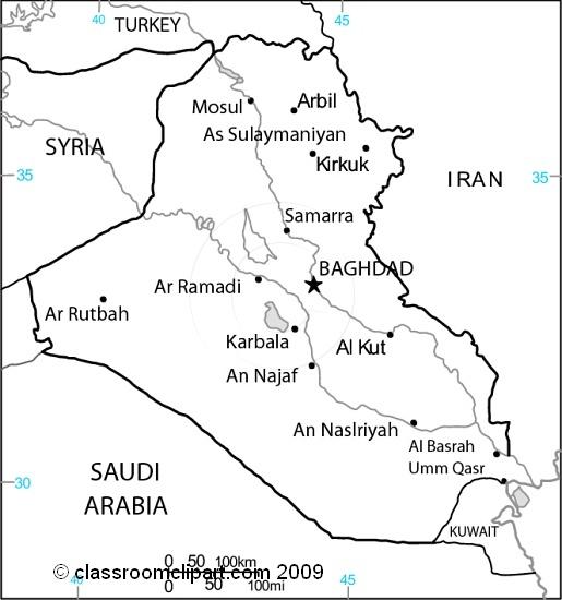 Maps : Iraq_map_25Mbw : Classroom Clipart