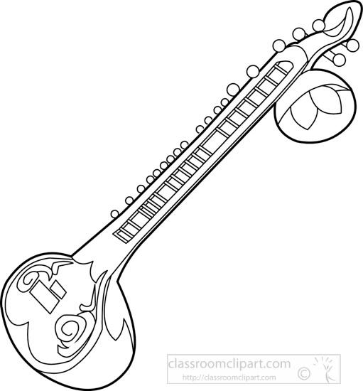 Music : outline-sitar-string-musical-instrument
