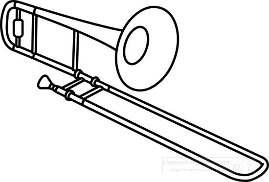 Music : trombone_brass_music_outline_13 : Classroom Clipart