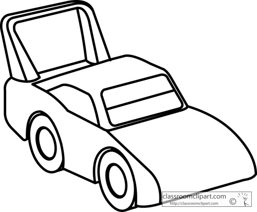 Objects : toy_racecar_outline_1713b : Classroom Clipart