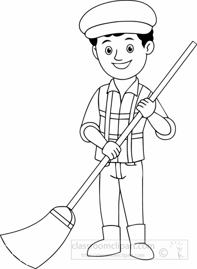 People : black-white-street-sweeper-black-white-clipart