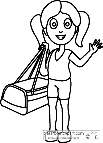 People Clipart- girl_holding_travel_bag_outline