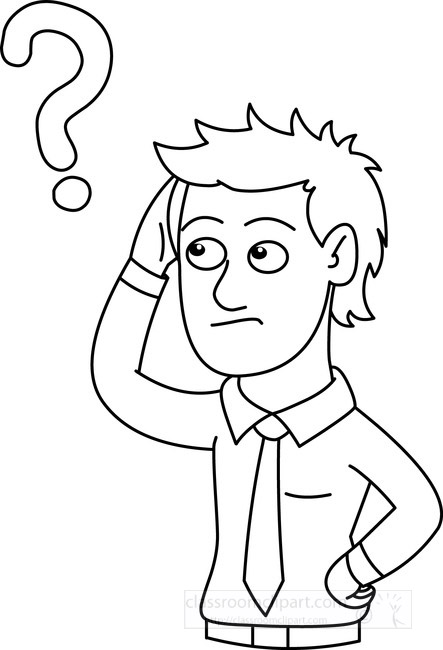 People Clipart- man-with-question-mark-outline-black-white