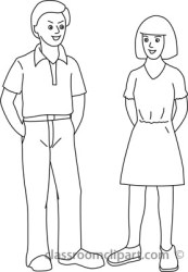 clipart boy woman standing outlne outline clip cliparts clipground