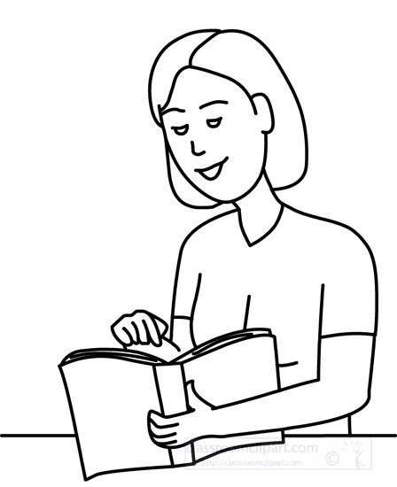 People : woman-reading-book-12412-outline : Classroom Clipart