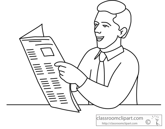 Religion Clipart- person_reading_newspaper_outline_226