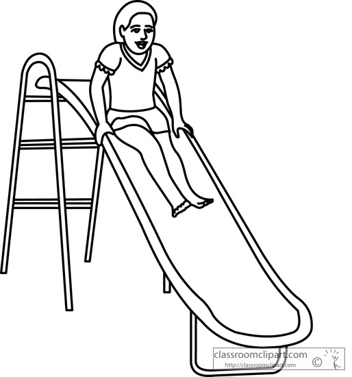 School : playground_slide_fun_09_outline : Classroom Clipart