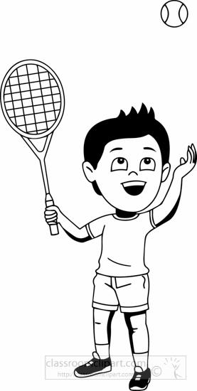 Sports : black-white-boy-playing-tennis-clipart-dark-tone