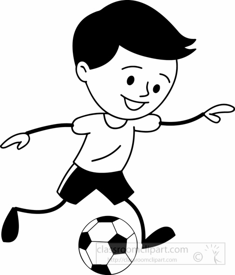Sports : black-white-boy-runnig-with-soccer-ball-clipart