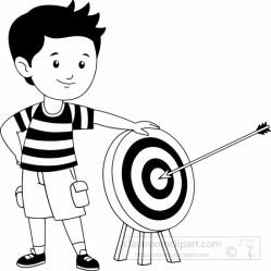 archery clipart boy target standing sports shot perfact near outline transparent