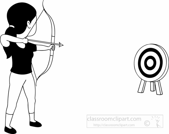 Sports : black-white-girl-aiming-target-with-bow-and-arrow
