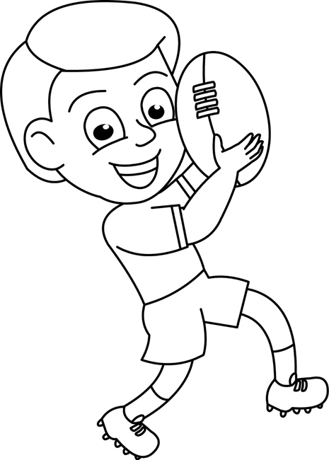 Sports : boy_holding_football_outline : Classroom Clipart