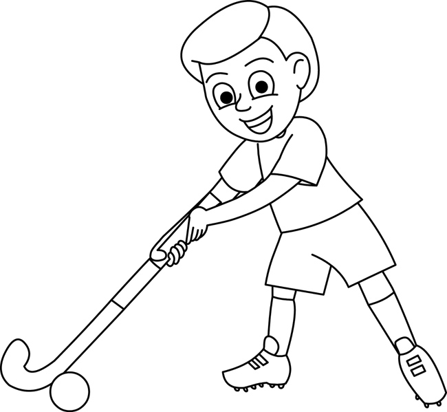 Sports : boy_playing_with_hockey_stick_outline : Classroom