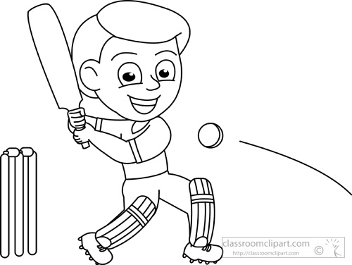 Sports : cricket_outline_214 : Classroom Clipart