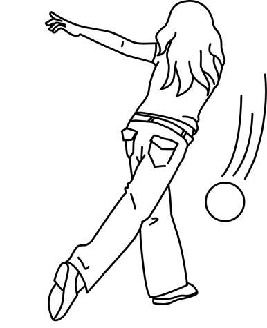 Sports : girl_in_jeans_bowling_outline : Classroom Clipart