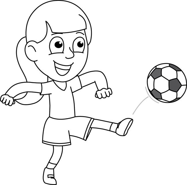 Sports : girl_kicking_soccer_ball_outline : Classroom Clipart