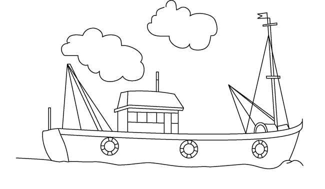 Transportation : fishing_boat_outline_123 : Classroom Clipart