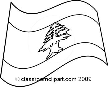 World Flags : lebanon_flag_BW : Classroom Clipart