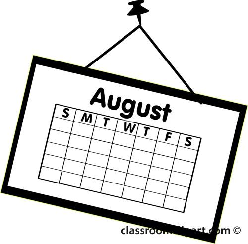 Calendar : calendar_august_outline_2 : Classroom Clipart
