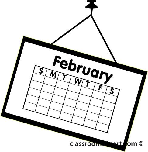 Calendar : calendar_february_outline_2 : Classroom Clipart