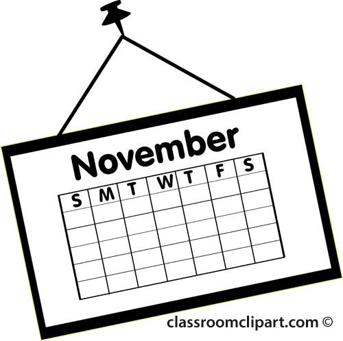 Calendar : calendar_november_outline_2 : Classroom Clipart