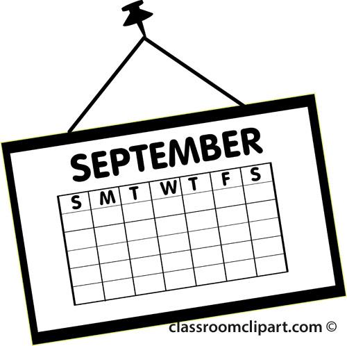 Calendar : calendar_september_outline_2 : Classroom Clipart