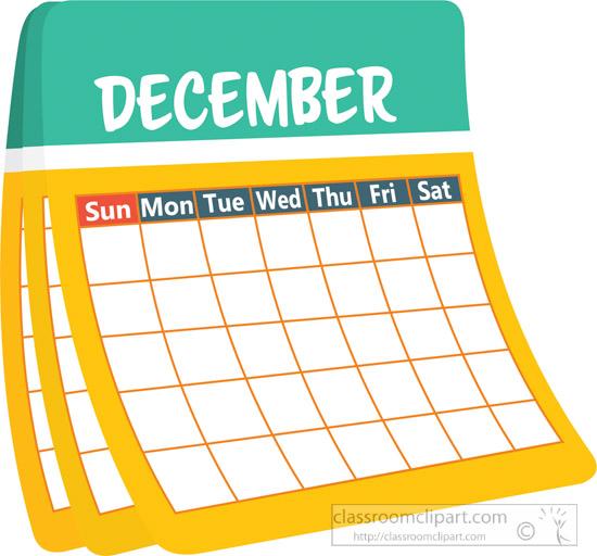 calendar clipart - monthly-calender-december-clipart-6227