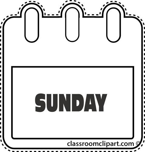 Calendar : notebook_sunday_outline : Classroom Clipart