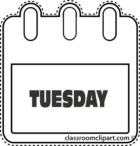 Calendar : notebook_tuesday_outline : Classroom Clipart