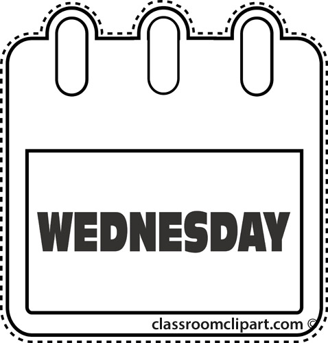Calendar : notebook_wednesday_outline : Classroom Clipart