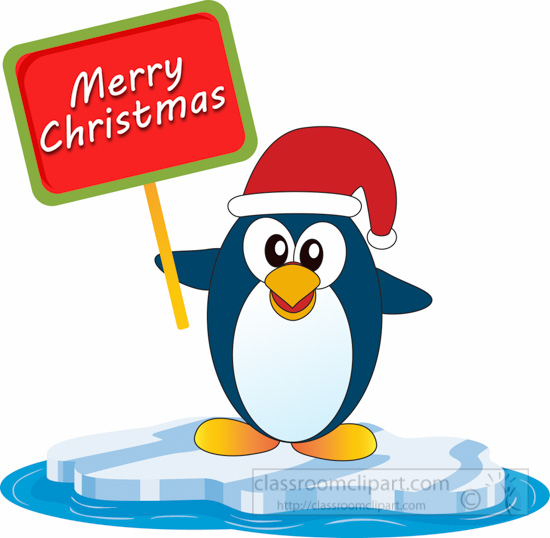 christmas clipart clipart- penguin-with-sign-wishing-merry-christmas-clipart-5125