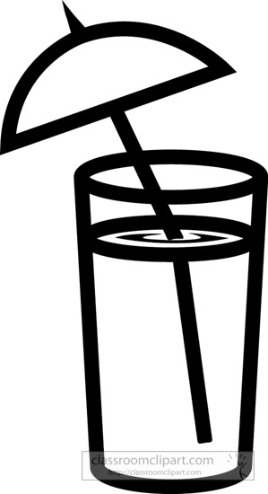 Drink and Beverage Clipart : drink-with-umbrella-bw