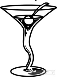 Drink and Beverage Clipart Clipart Photo Image fancy cocktail drink with cherry outline Classroom Clipart