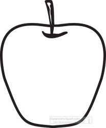 Fruits Clipart black outline single red apple with stem clipart Classroom Clipart