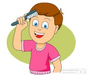 health clipart - child combing hair