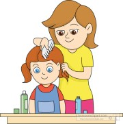 health clipart - mother-combing-daughters-hair