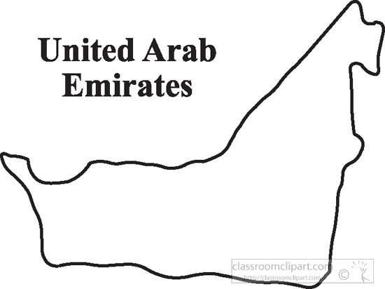 Country Maps : UAE-outline-gray-map-clipart-16 : Classroom
