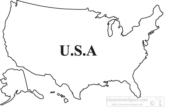 Country Maps : united-states-outline-map-clipart-2