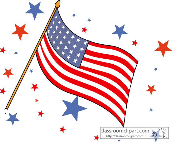 patriotic clipart - waving flag with stars